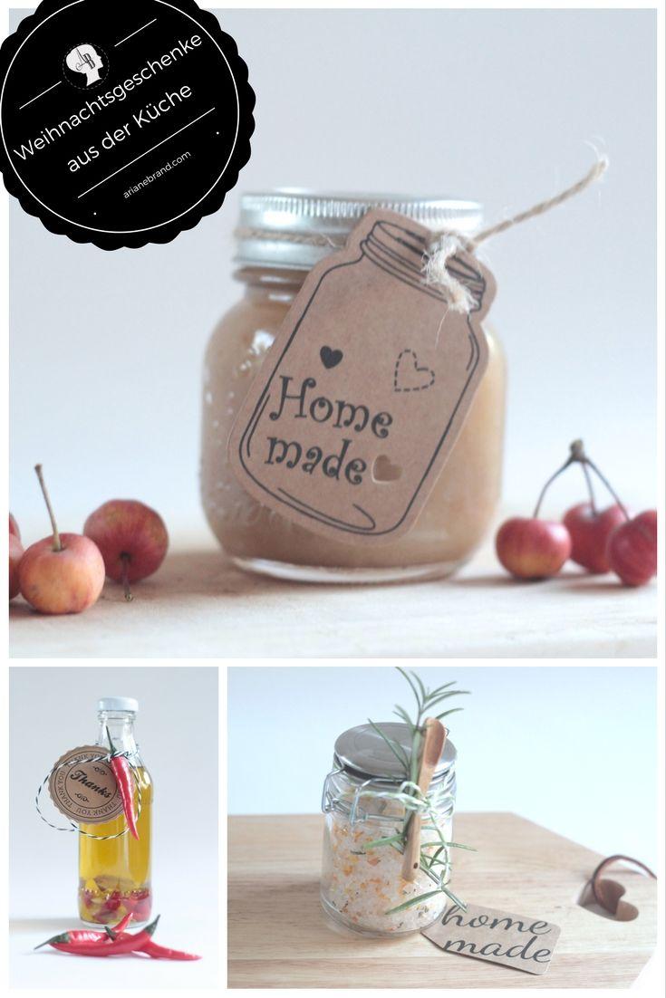 DIY: Weihnachtsgeschenke aus der Küche - 3 selbstgemachte Geschenke für die Weihnachtszeit: Chiliöl, Rosmarin-Salz mir Oragenaroma und Bratapfelaufstrich