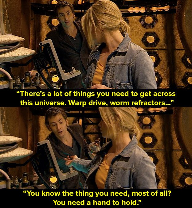 The Doctor to Rose (Billie Piper) in that episode when The Doctor (David Tennant) opened London 2012.