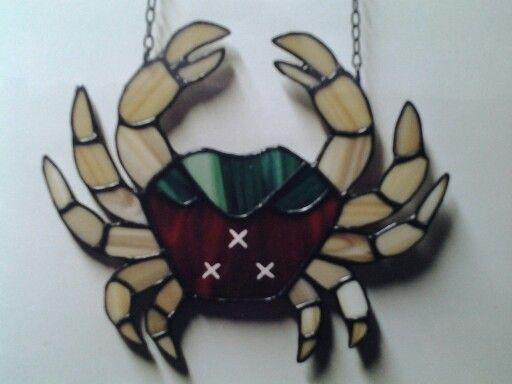 Krab met stadswapen van Bergen op Zoom. Tiffany glas. Eigen ontwerp.