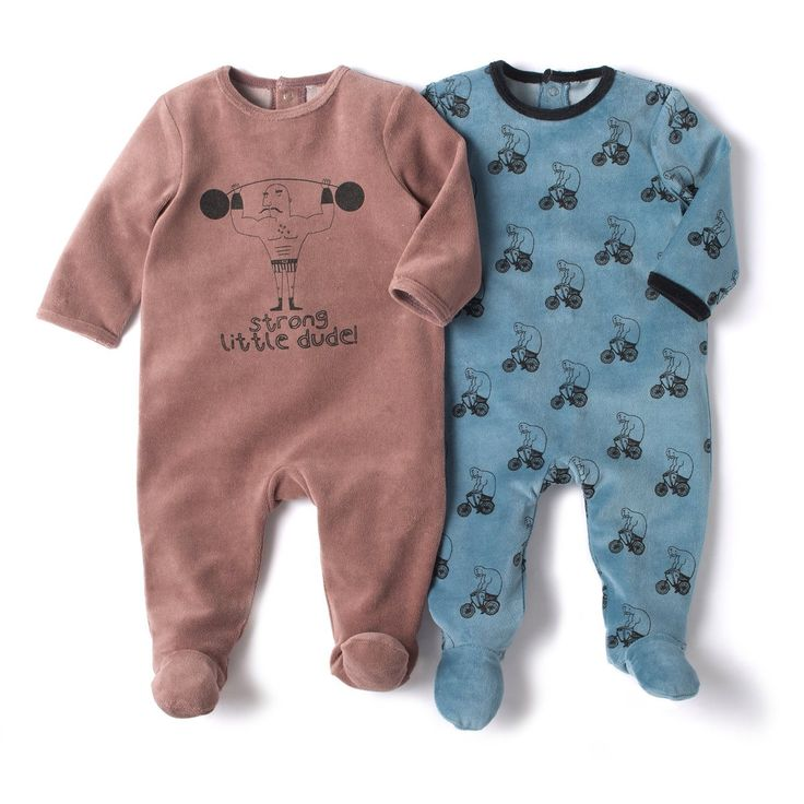Pack of 2 velour sleepsuits with feet R Baby | La Redoute