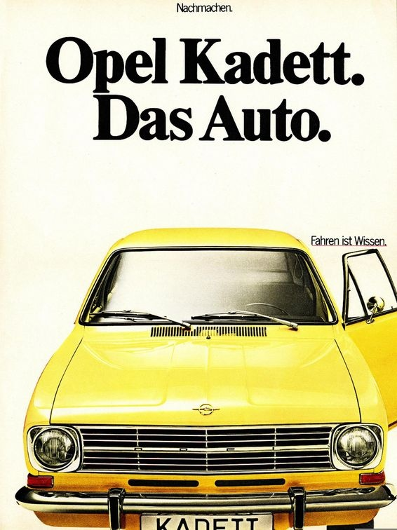 "Opel Kadett - Das Auto - hahahaha :D Vw uses ""das auto"" nowadays."