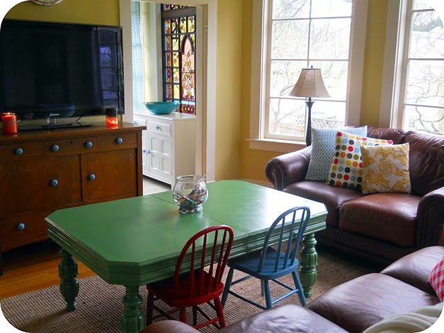 COFFEE TABLE/ KIDS TABLE- perfect with little chairs!  Use an old table and cut legs to size