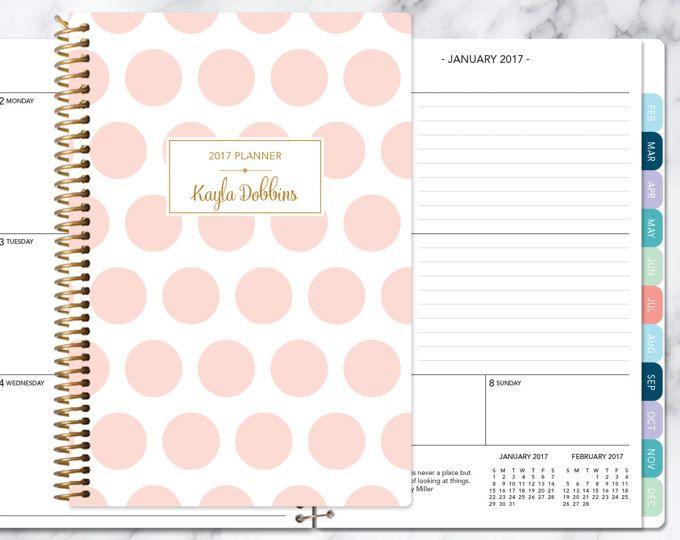 planner 2017-2018 weekkalender Kies start maand | maandelijkse tabbladen student planner gepersonaliseerde agenda toevoegen | roze en gouden polka dots