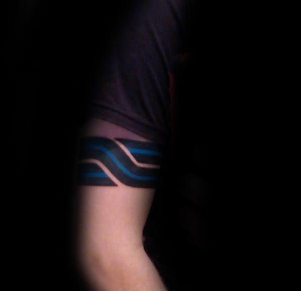 Tribal Thin Blue Line Armband Tattoo Design Ideas For Men