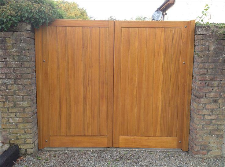 Hardwood gates finished in light oak oil based stain