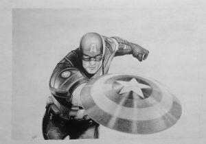 капитан америка арты простым карандашом берегу озера