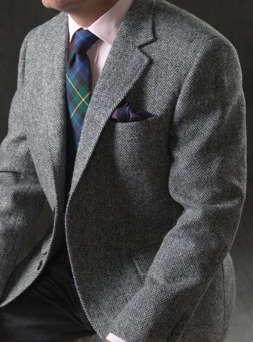 Black and Silver Herringbone Harris Tweed Sport Coat