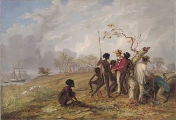 Thomas Baines, Thomas Baines with Aborigines near the mouth of the Victoria River, N.T, 1857