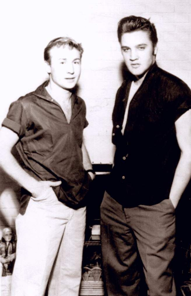 October 24 1956 with friend Nick Adams. This day Elvis was leaving Memphis to New York