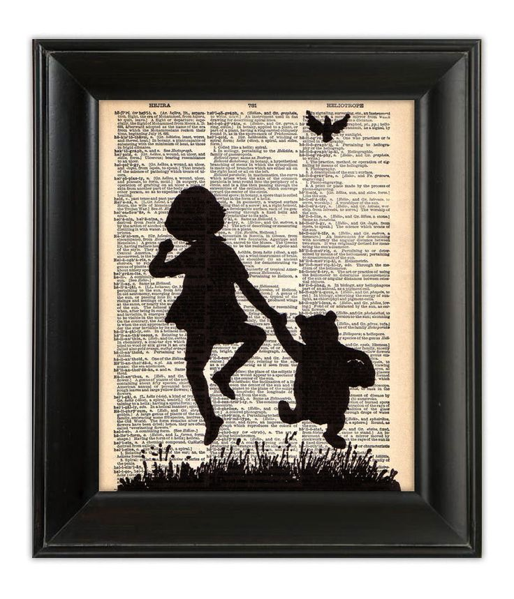 Winnie the POOH Bear Skipping Milne Illustration Silhouette Art Print Poster on…