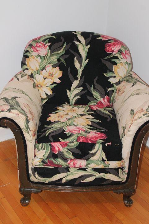 Black Barkcloth Chair