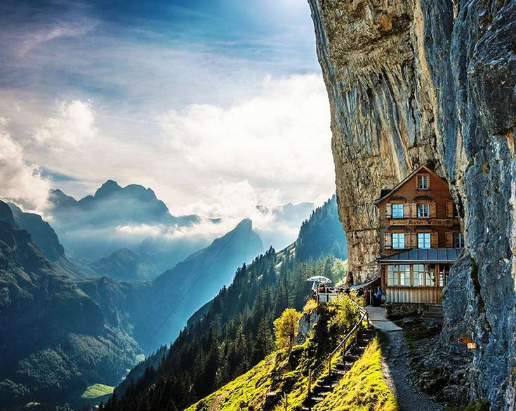 #10: Äscher Cliff Restaurant I've always wanted to go to Switzerland. This is just more reason to go.  10 Amazing Hotels You Need To Visit Before You Die - Earth Porn