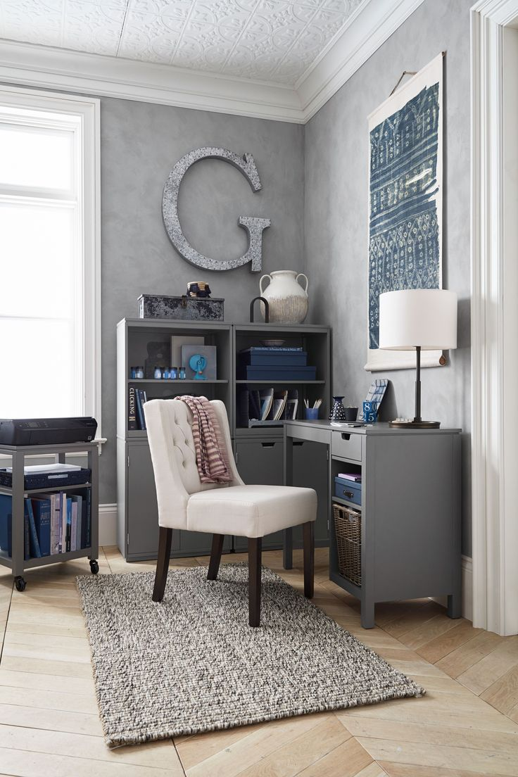 Small enough to fit in a tight space, but spacious enough to fit your laptop or even desktop computer — plus all your pens, pencils, and paper supplies. There's even room for a printer if you want to go that route. Pottery Barn Windsor Modular Desk, $229, available at Pottery Barn. #refinery29 http://www.refinery29.com/2017/01/137832/pottery-barn-small-spaces-collection#slide-9