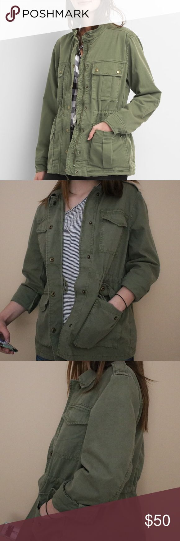 GAP Jacket GAP, green army jacket. Can tighten waist, snap buttons, and pockets. Slightly different than model pictures - added details on shoulders, no zipper, and no visible buttons on pockets. Barely worn! GAP Jackets & Coats Utility Jackets