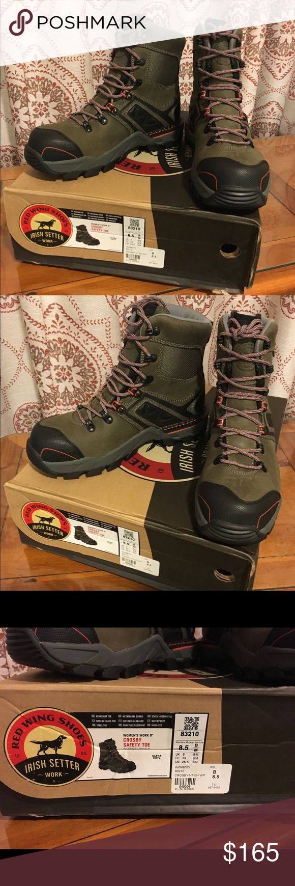 Red Wing Shoes Irish Setter Women's Safety toe work boots. Ultra Dry Waterproofing system;Electrical Hazard; Memory Foam insoles. Size 8.5 New with Tags and original box. Red Wing Shoes Shoes Combat & Moto Boots
