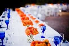 blue and orange centerpieces