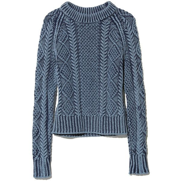 L.L.Bean Signature Signature Cotton Fisherman Sweater, Washed ($99) ❤ liked on Polyvore featuring tops, sweaters, cotton fisherman sweater, print sweater, cableknit sweater, cable sweater and cotton sweater