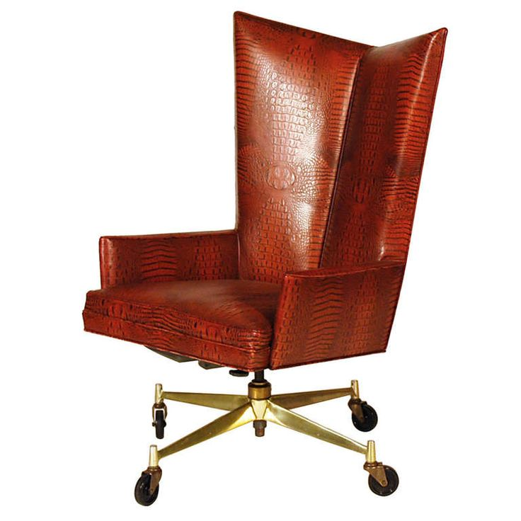 Executive Chair  Paul McCobb. Crocodile embossed leather, brass plated steel. Mid-Century Modern. United States       c1955