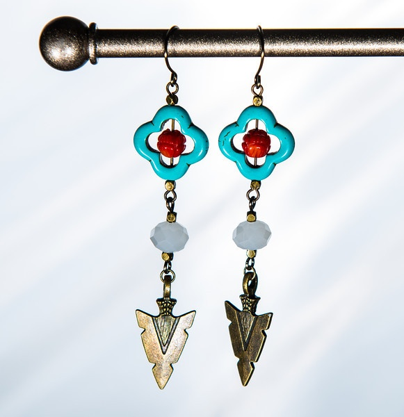 Arrowhead Earrings with turquoise, quartz and coral by Soulfari Jewelry