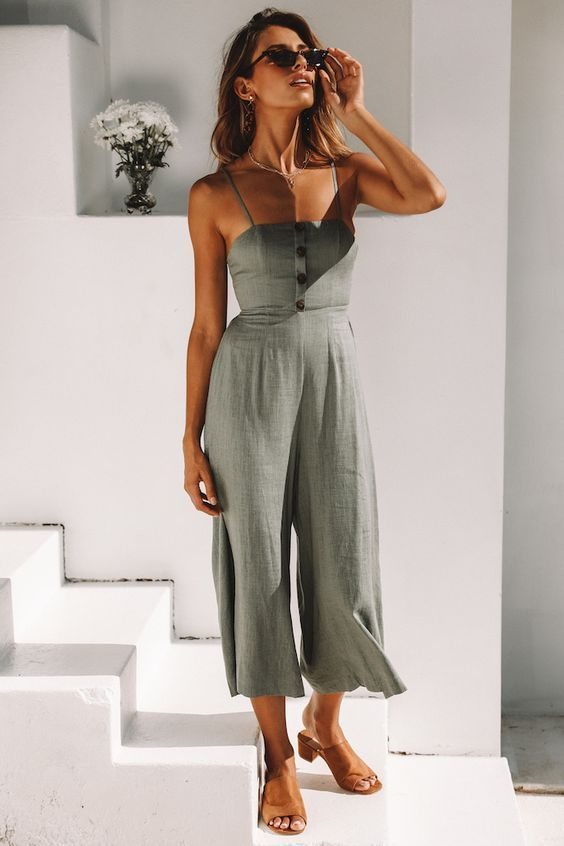 Summer Style, Linen Romper Outfit