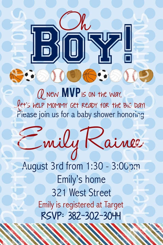 sports baby shower or birthday invitation by prettypartycreations 9