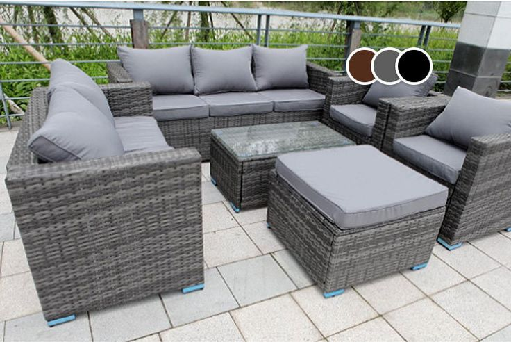 8-Seater Rattan Garden Furniture Set - 3 Colours! deal in Sheds & Garden Furniture Get an eight-seater rattan set with a three-seater and two-seater sofa.  Along with two comfy chairs, a sleek coffee table and a stool.  Choose from grey, black or brown.  With a set of matching machine-washable cushion covers for comfort.  See measurements below.  Perfect for summer lounging! BUY NOW for just £469.00