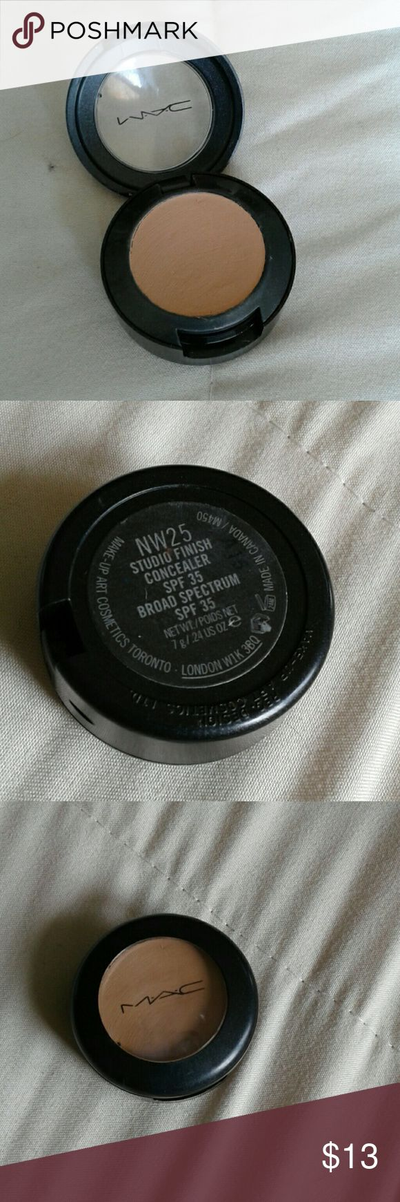 MAC studio finish concealer NW 25 Concealer, spf 35, NW 25. Its a darker color than my skin is so I never used it. It is brand new but sampled once to see how it would look on my skin. .24 oz MAC Cosmetics Makeup Concealer