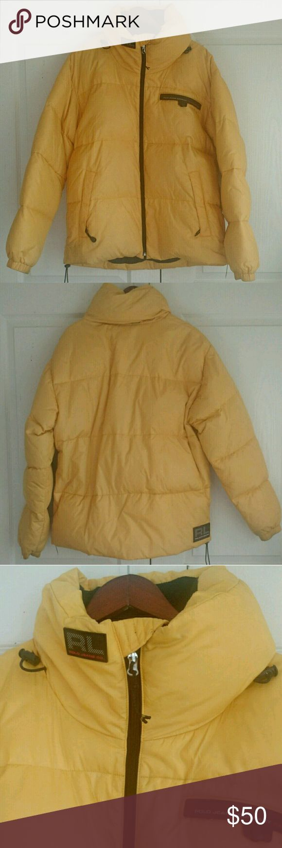 """🌹WARM🌹 Polo Jacket Size L Awesome down jacket with plenty of zipped pockets and a hidden hat in the back. Zip front with adjustable ties at the waist and hood. Gently worn and in great condition. Machine washable! Super warm. Measures: 26"""" across chest, 29"""" shoulder to bottom  Shell: 100% Nylon  Lining: 100% Polyester Fill: 60% Down, 40% Waterfall feather Polo by Ralph Lauren Jackets & Coats Puffers"""