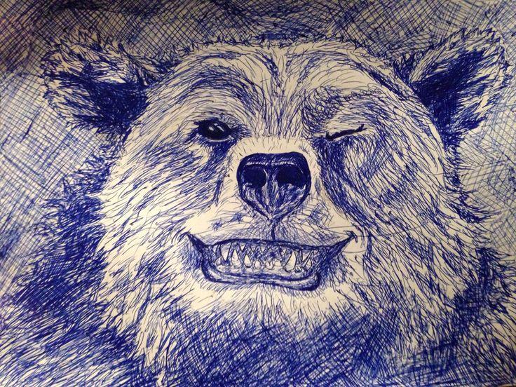Pen art Bear winky