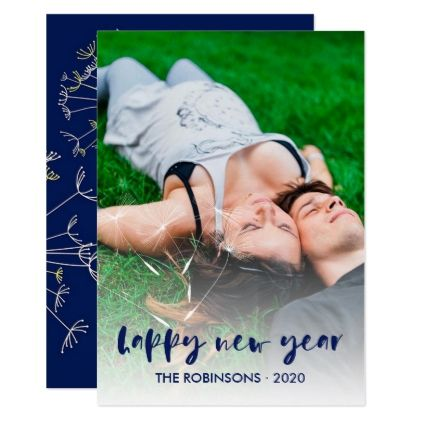 Handwriting overlay dandelion Happy New Year photo Card - holiday card diy personalize design template cyo cards idea