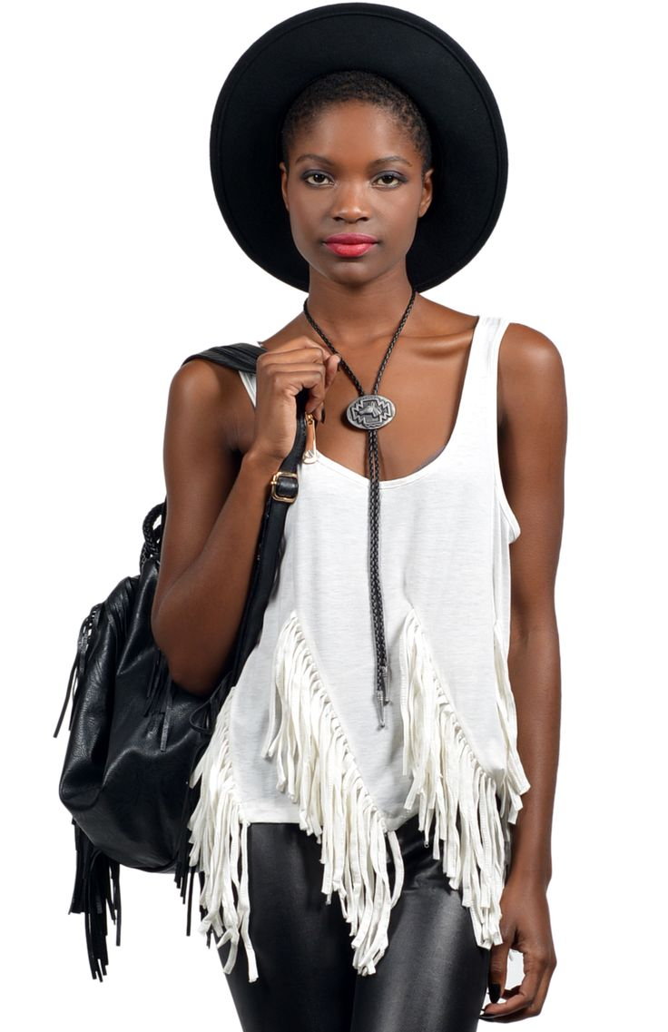 Super cool western style vest in white featuring front tassel detail and back triangle cut out. Team with wide brim hat, leatherette leggings, bolo tie and ankle boots for the complete look. Length: 51cm. Width: 44cm.