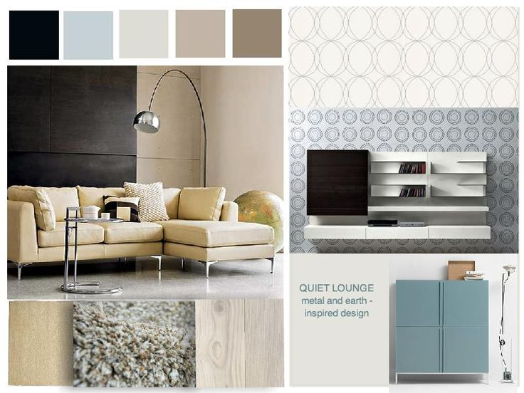 Metal And Earth Inspired Proposal For A Quiet Lounge Moodboard Created Using