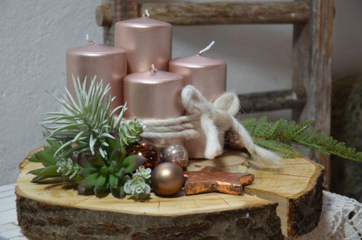 Adventskranz - Adventskranz Baumscheibe Sukkulenten Rose Gold - ein Designerstück von majalino bei DaWanda