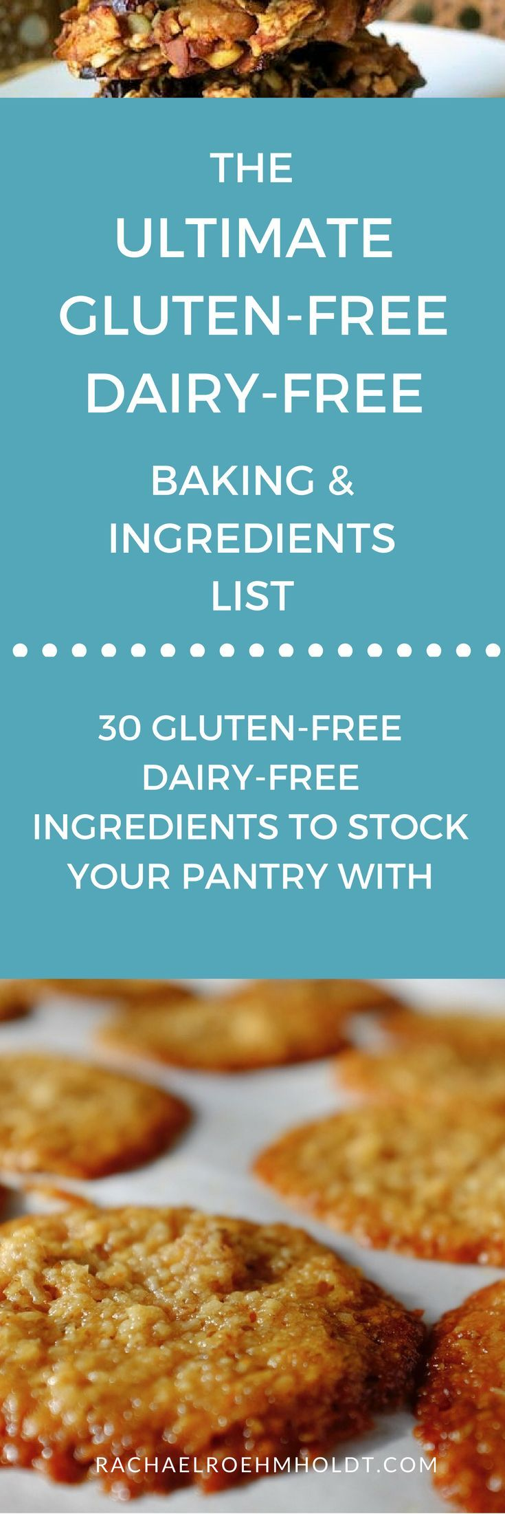 Getting started with gluten-free dairy-free baking? Check out this list of 30 ingredients to keep on hand for gluten-free dairy-free desserts, breads, and cake recipes.