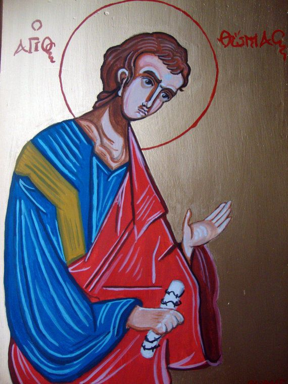Saint Thomas - Hand Painted Greek Religious Icon On Wood 7x9.75 inches #Iconography