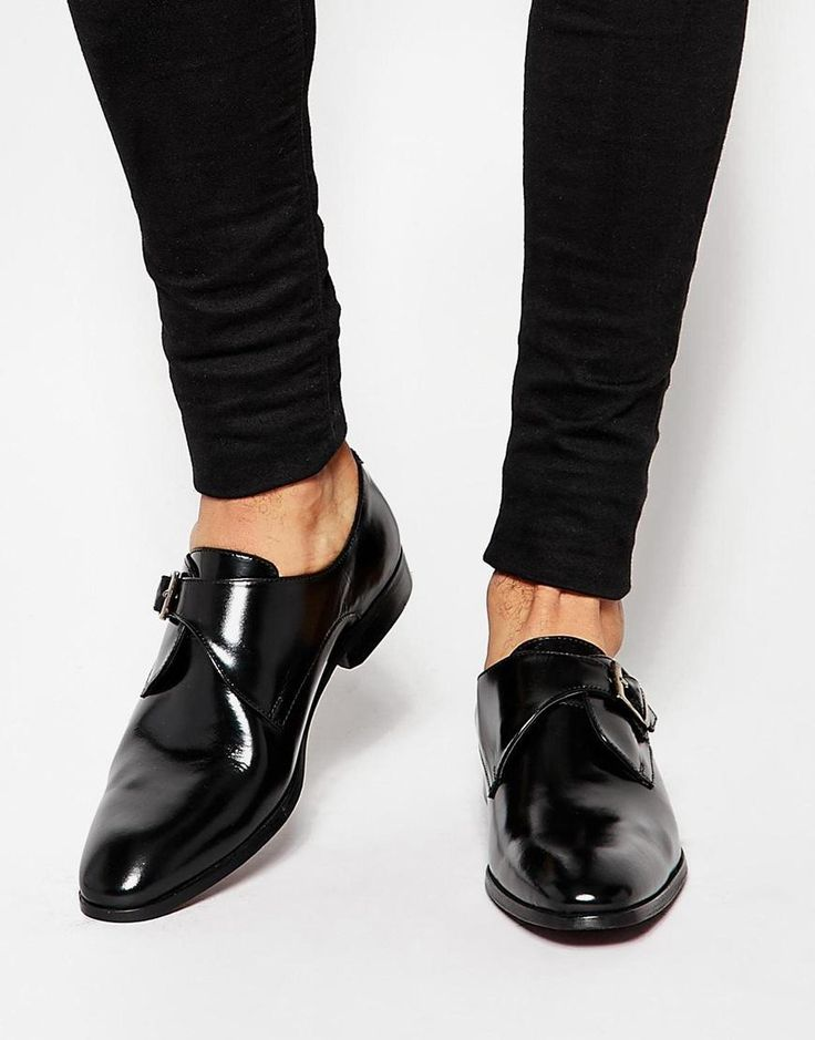 ASOS | ASOS Monk Shoes in Black Leather With Buckle at ASOS