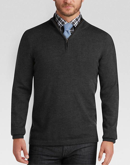 2bd0a91593 Joseph Abboud Charcoal Wool Merino Wool Sweater - Mens Sweaters and Vests