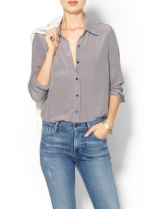 silk blouse + jeans