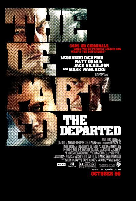 The Departed (2006). An undercover state cop who has infiltrated an Irish gang and a mole in the police force working for the same mob race to track down and identify each other before being exposed to the enemy, after both sides realize their outfit has a rat.