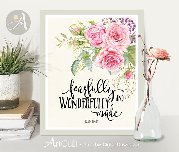 Printable Wall Art digital download Scripture Bible verse nursery inspirational quote, Fearfully and wonderfully made, Psalm 139:14. ArtCult
