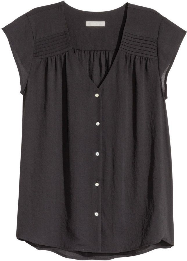 H&M - Short-sleeved Blouse - Black - Ladies