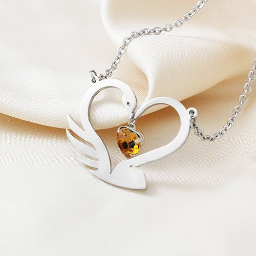 Captain Swan Necklace with an Heart with the shape of a Swan and an Hook, Swarovski Heart Pendant, Engagement Necklace