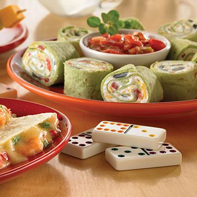 These tortilla pinwheels are a favorite easy-to-make appetizer to share while watching a playoff game!