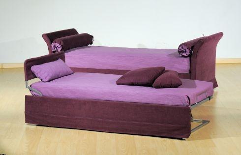 Letto singolo  in tessuto con secondo letto estraibile