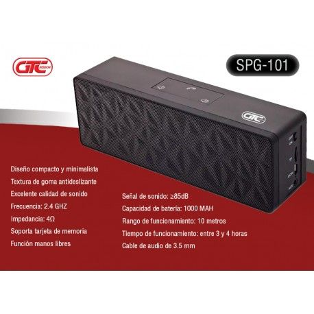 Parlante Bluetooth Gtc Spg-101 Alta fidelidad. Encontralo en www.mundocdweb.com