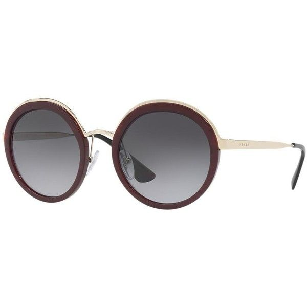 affe64901286 Prada Pr 50ts 54 Burgundy Round Sunglasses ( 400) ❤ liked on Polyvore  featuring accessories