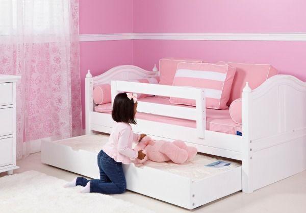 Girls White Curve Daybed With Trundle For Sleepovers
