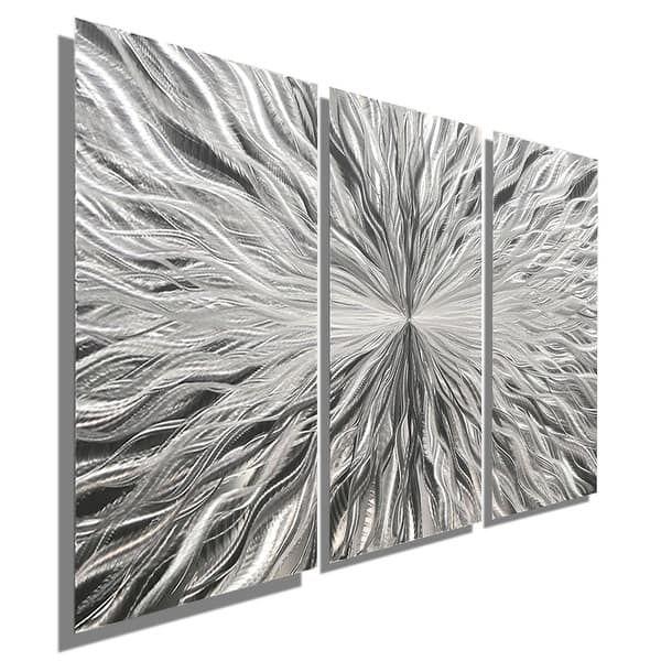 Statements2000 Silver 3 Panel Modern Metal Wall Art Sculpture by Jon Allen - Vortex 3P