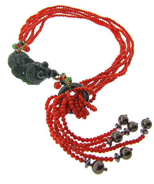 coral and black jade Red Flourish necklace from HK-based jeweller Mudan