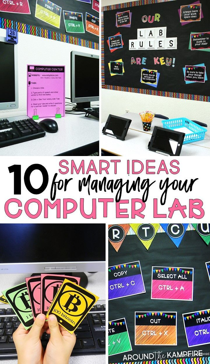 10 Must-try computer lab management tips for technology classrooms. Easy ideas for managing checkouts, logins, rules and procedures, behavior management, and classroom organization. Check out the fun behavior management ideas using bitcoin! Plus functional decor ideas to help you manage your computer lab like a boss! A good read for technology teachers and classroom teachers who use a computer lab.